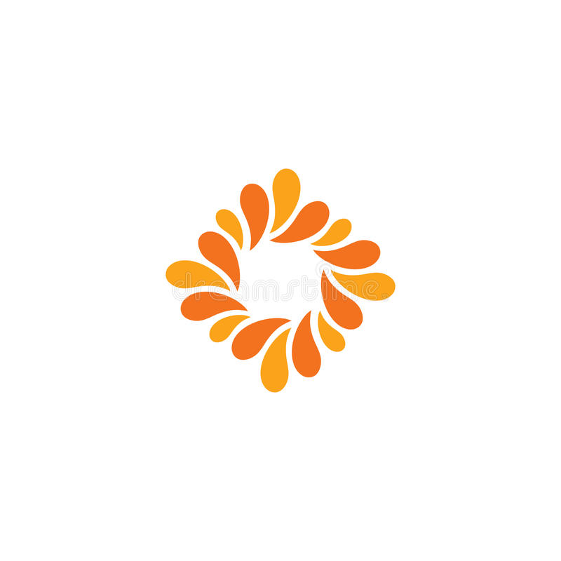 被隔绝的抽象橙色颜色商标 菱形形状略写法 花瓣象 花卉装饰标志 自然元素 皇族释放例证