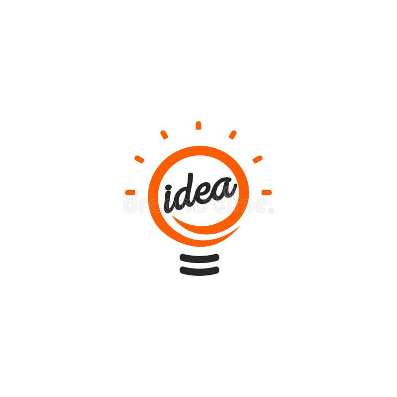被隔绝的抽象橙色颜色电灯泡等高略写法,点燃在白色背景的商标,想法标志传染媒介 库存例证