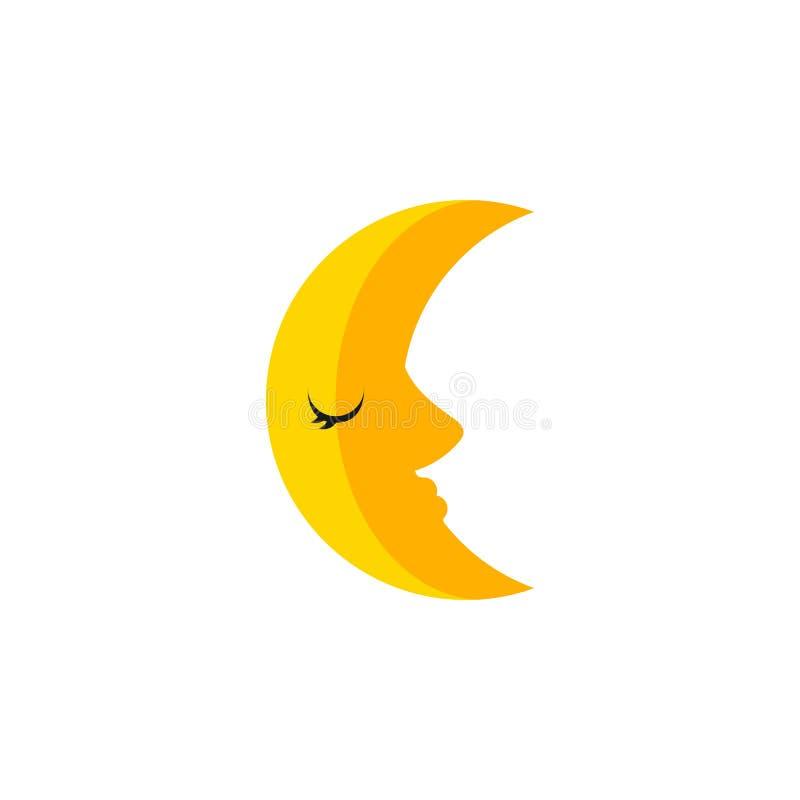 被隔绝的新月形平的象 月亮传染媒介元素可以为月亮,月牙,月球设计观念使用 向量例证