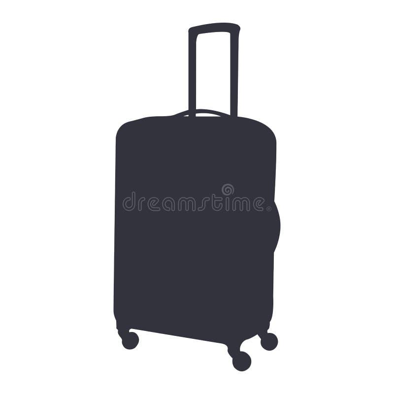 被隔绝的旅行袋子剪影 向量例证