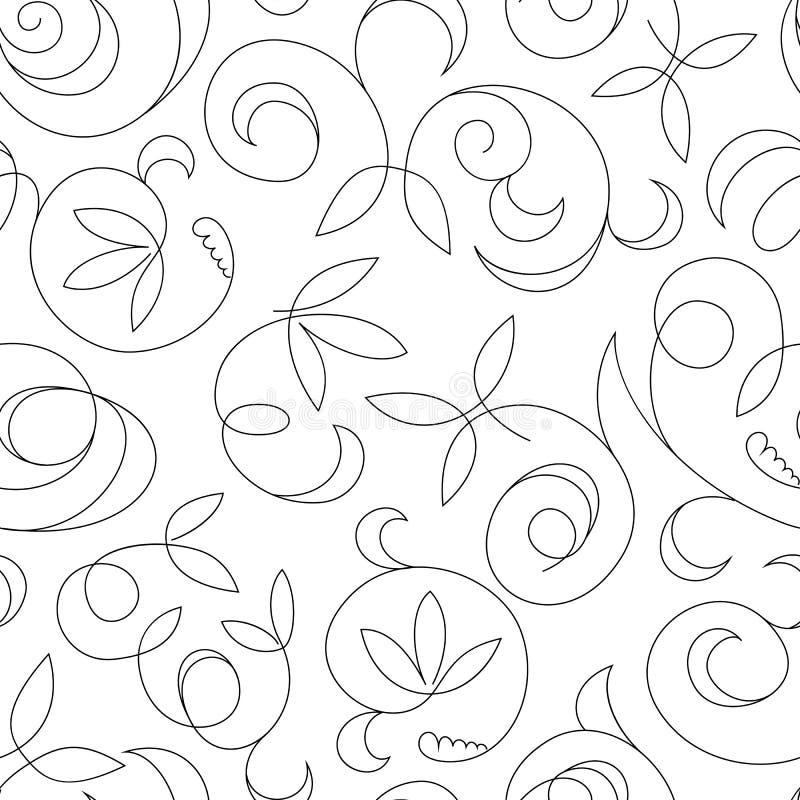 被隔绝的无缝的抽象黑花卉背景 向量例证