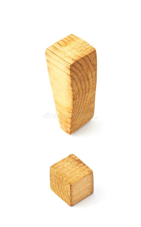 被隔绝的木惊叹号标志 免版税库存照片