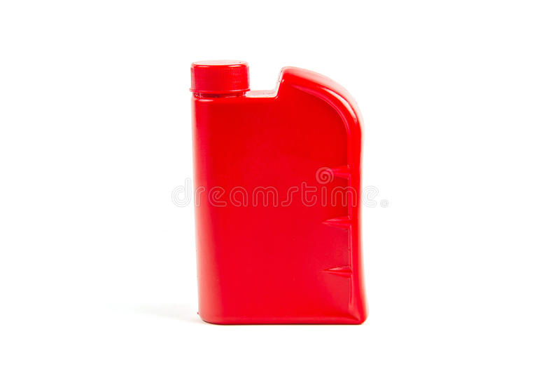 被隔绝的机油的,汽车油瓶塑胶容器 库存照片