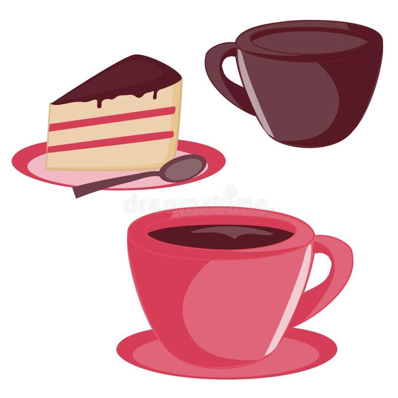被隔绝的杯子和蛋糕集合 向量例证