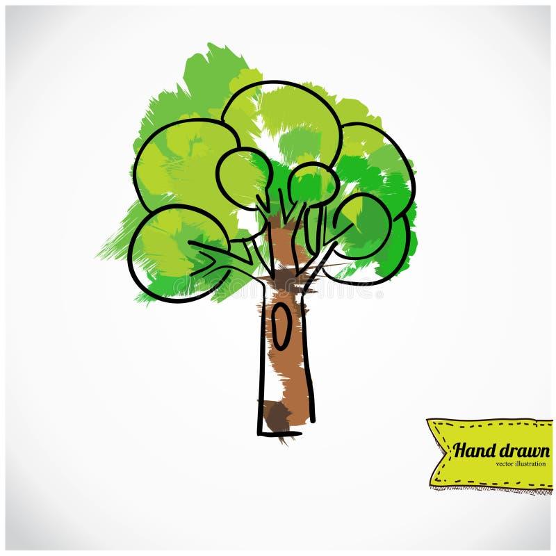 被隔绝的概略树,手拉传染媒介的例证 向量例证