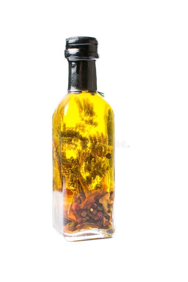 被隔绝的橄榄油瓶 库存图片
