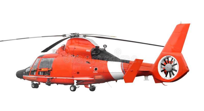 被隔绝的橙色抢救直升机。 库存照片