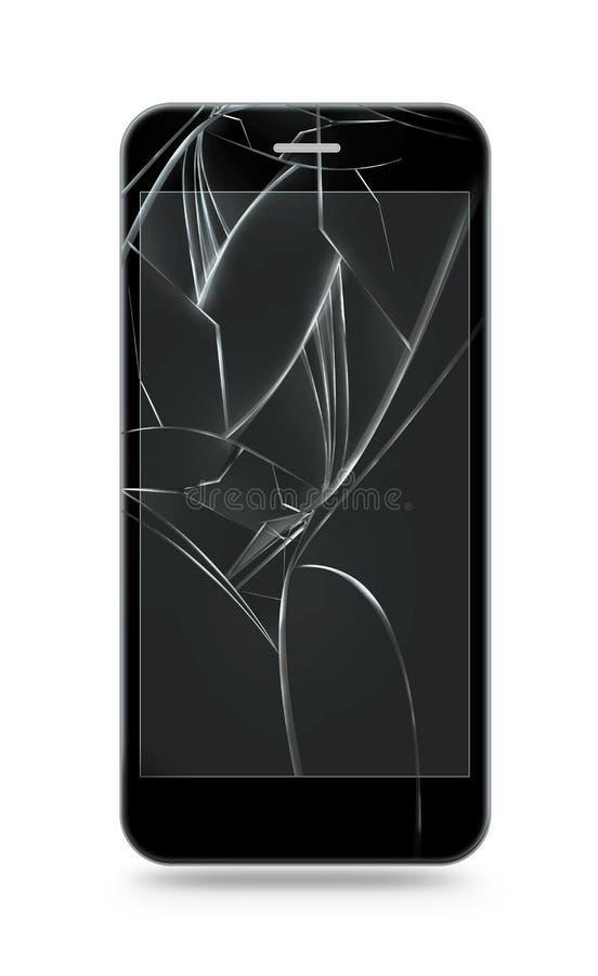 被隔绝的残破的手机屏幕 智能手机显示器损伤 库存例证