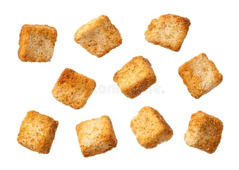 被隔绝的油煎方型小面包片 库存照片