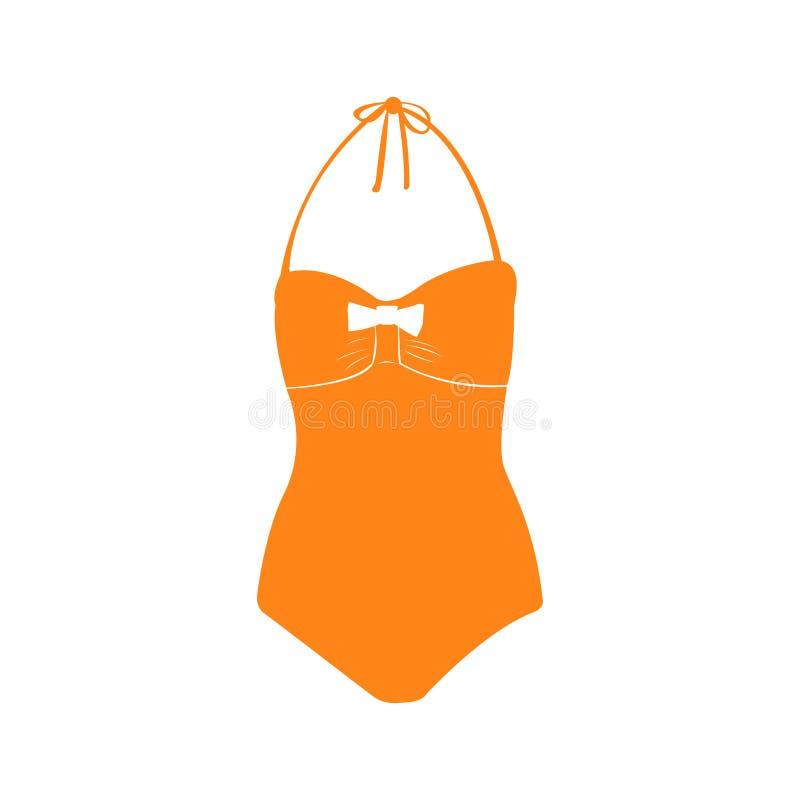 被隔绝的泳装剪影 库存例证