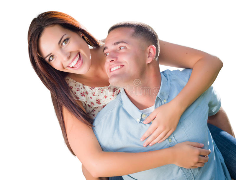 被隔绝的混合的族种浪漫军事夫妇肩扛画象 免版税库存图片