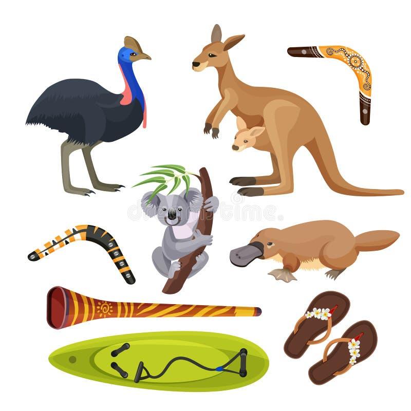 被隔绝的澳大利亚标志 考拉,袋鼠,冲浪板,飞旋镖,驼鸟, platypus, didgeridoo 库存例证