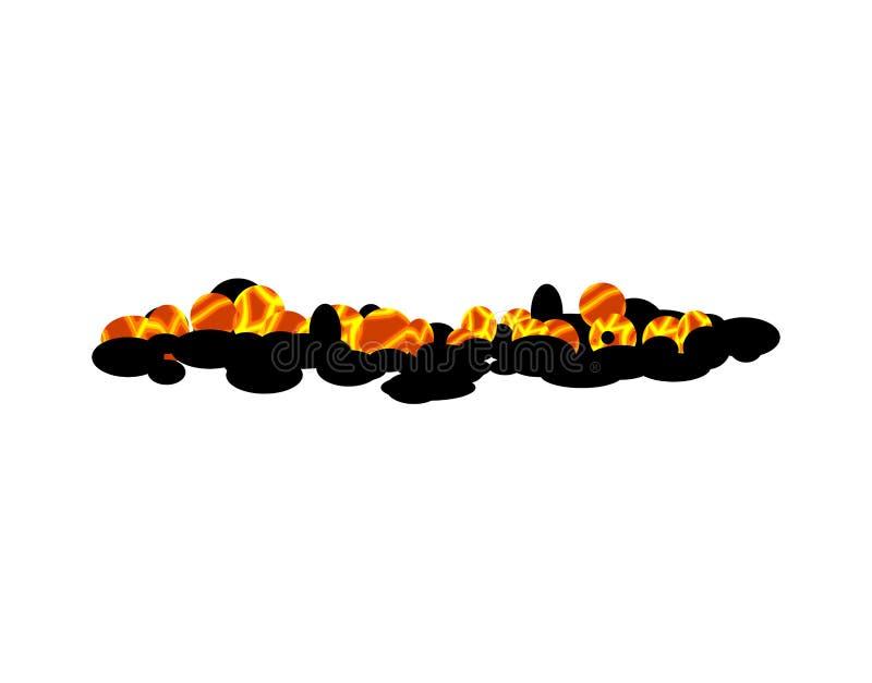 被隔绝的灼烧的木炭 在白色背景的热的煤炭 向量例证