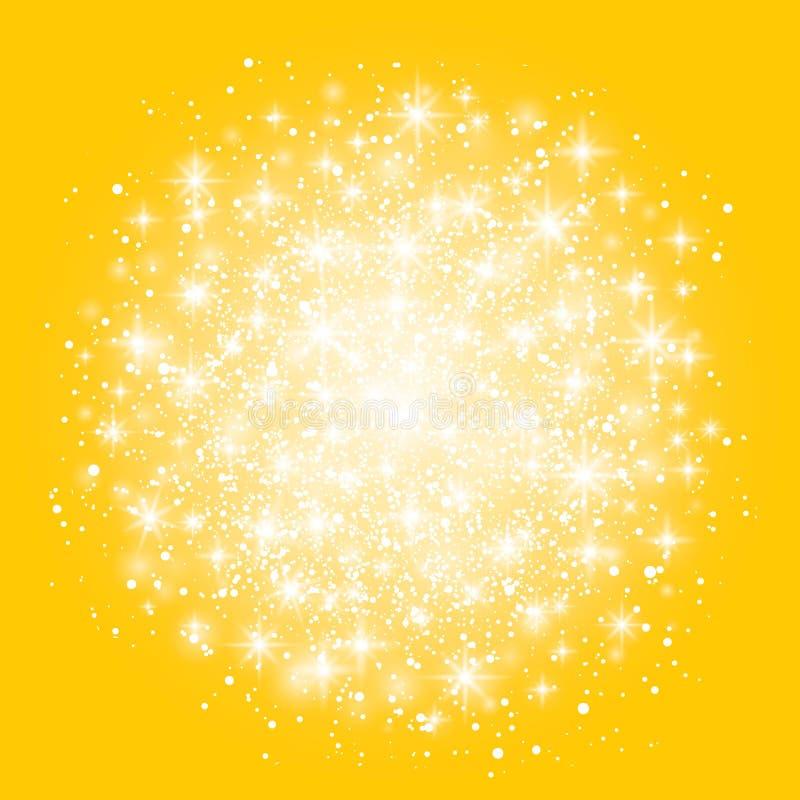 被隔绝的焕发光线影响对黄色背景 也corel凹道例证向量 圣诞节一刹那概念 与闪闪发光的星爆炸 库存例证