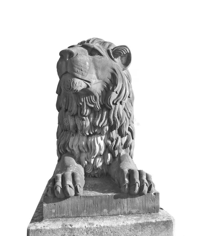 被隔绝的狮子雕象 免版税库存图片