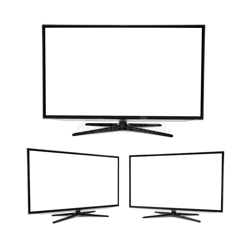 被隔绝的现代空白的平面屏幕电视机 向量例证