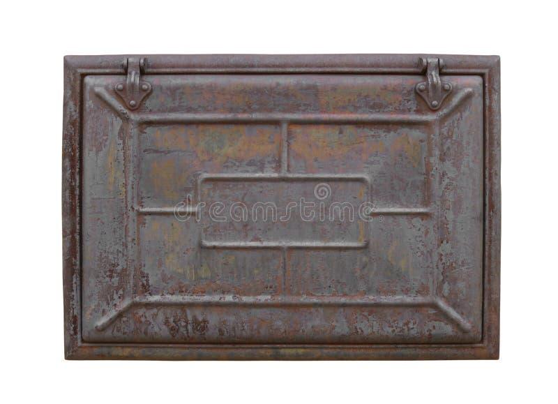被隔绝的生锈的金属舱口盖 免版税库存照片
