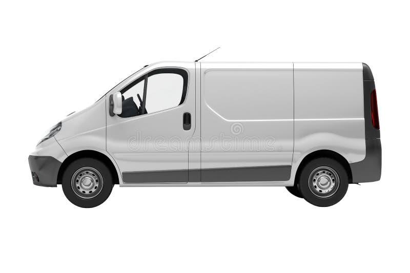 被隔绝的白色商业搬运车 免版税库存照片