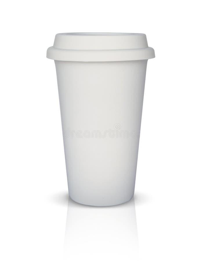 被隔绝的白色外带的咖啡杯 库存照片