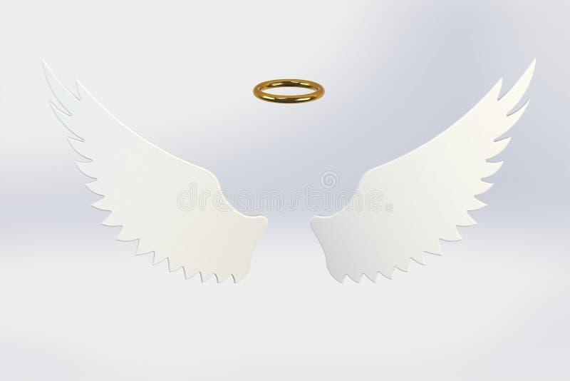 被隔绝的白色天使翼 图库摄影
