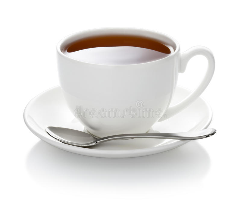 被隔绝的白色茶杯 免版税图库摄影
