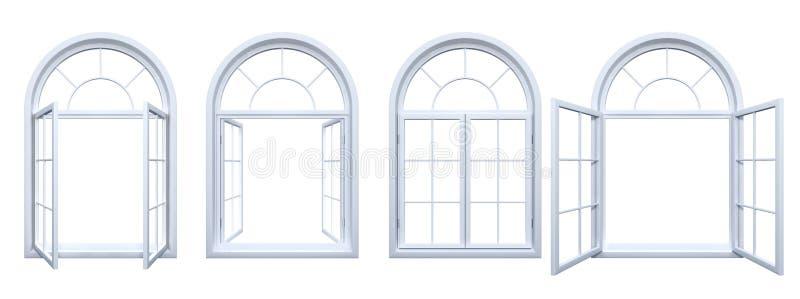 被隔绝的白色被成拱形的窗口的汇集 库存例证