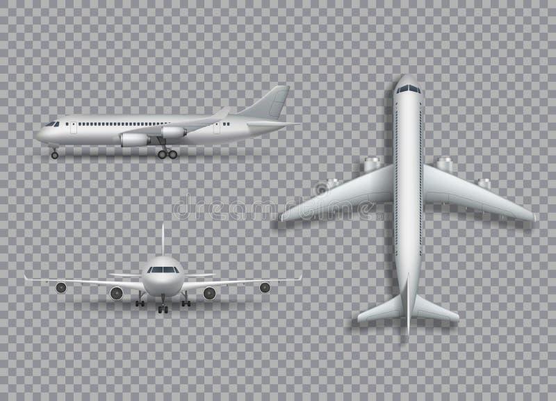 被隔绝的白色飞机嘲笑 航空器,在透明背景的班机现实3d例证 库存例证