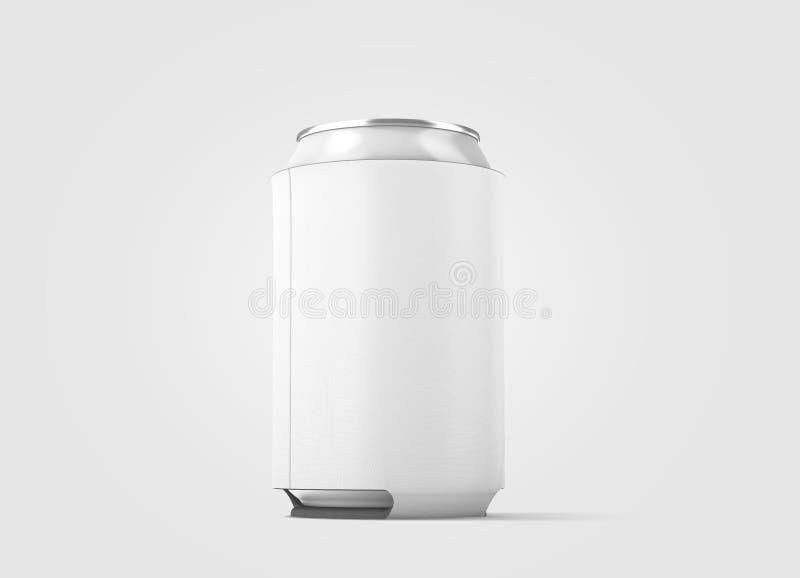 被隔绝的空白的白色可折叠啤酒罐koozie大模型, 免版税图库摄影