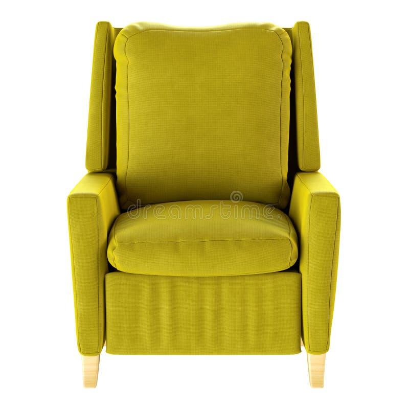 被隔绝的简单的黄色扶手椅子 正面图 3d例证 库存例证