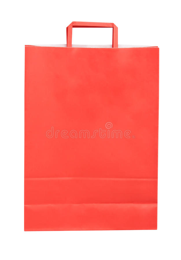 被隔绝的红色纸购物袋 免版税库存图片