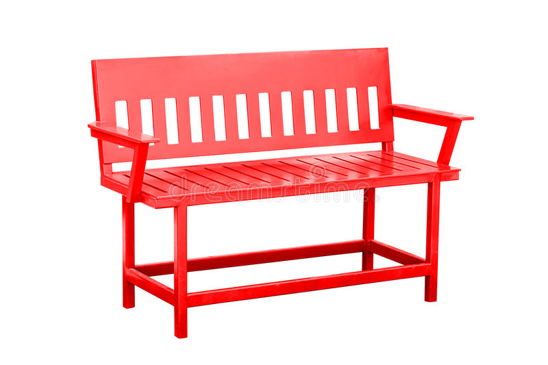 被隔绝的红色长凳 库存图片