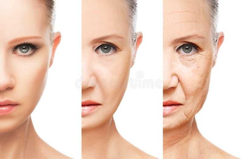 被隔绝的老化和护肤的概念