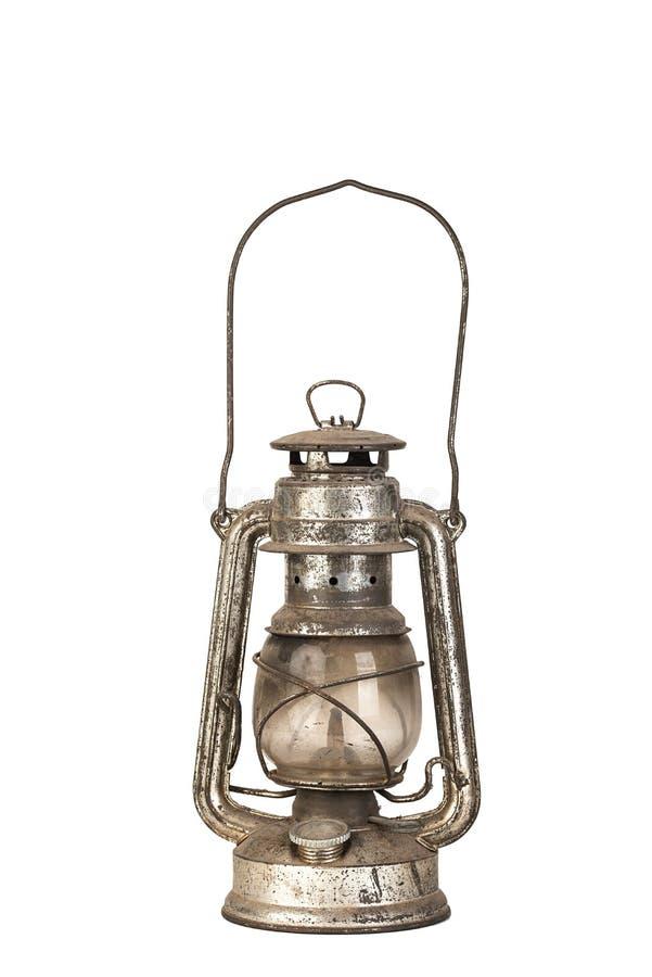 被隔绝的老煤油提灯 库存图片