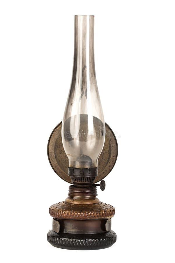 被隔绝的老煤油灯在白色 免版税库存照片