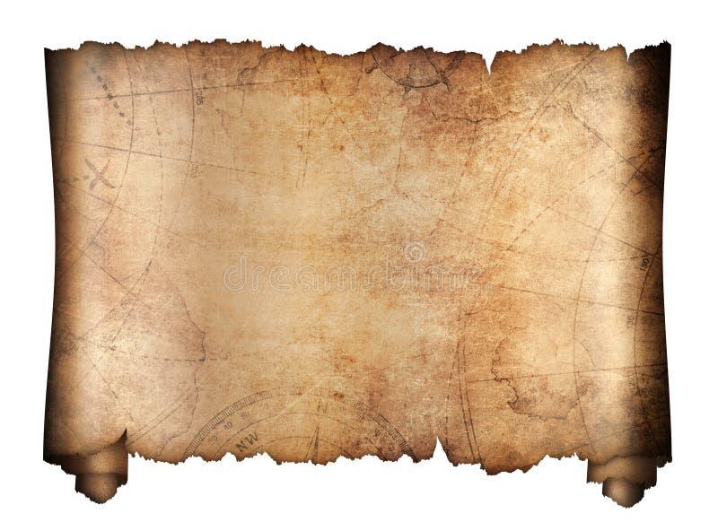 被隔绝的老珍宝地图卷 库存图片