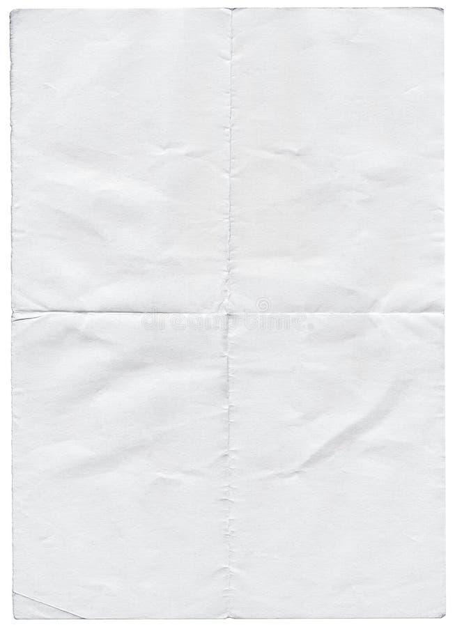 被隔绝的老白色被折叠的被撕毁的纸。 库存图片
