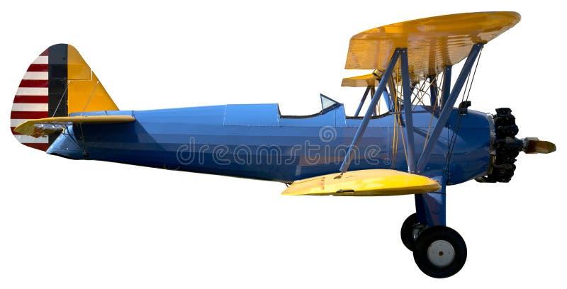 被隔绝的老葡萄酒双翼飞机航空器 免版税图库摄影