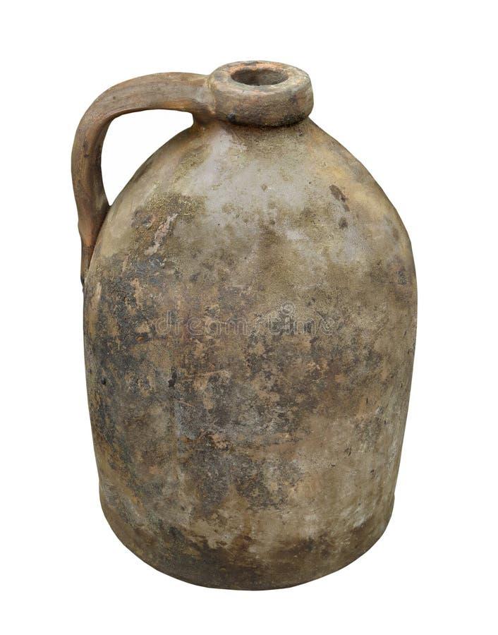被隔绝的老黏土瓦器水罐 库存图片