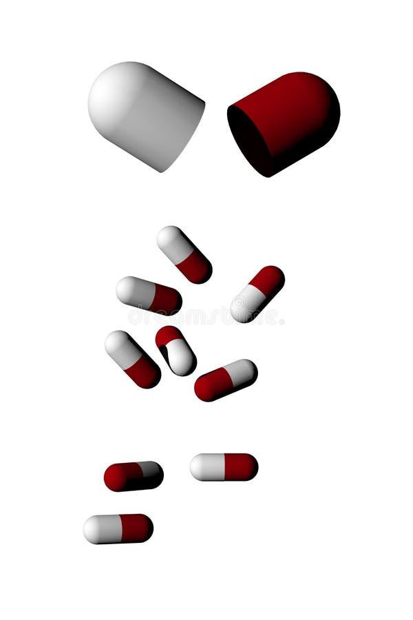 被隔绝的药片胶囊 库存例证