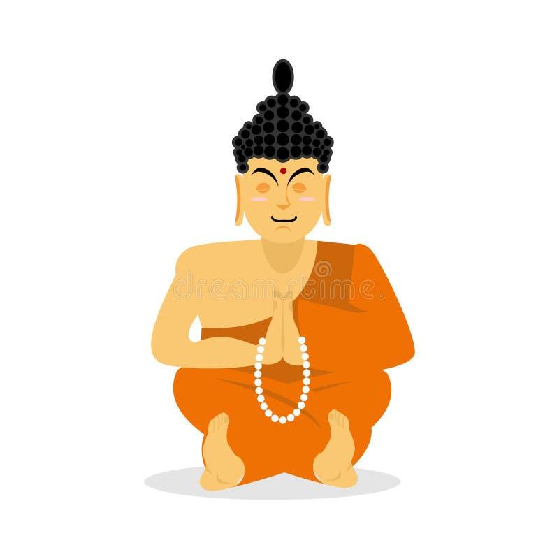 被隔绝的菩萨思考 白色背景的印地安神 stat 皇族释放例证