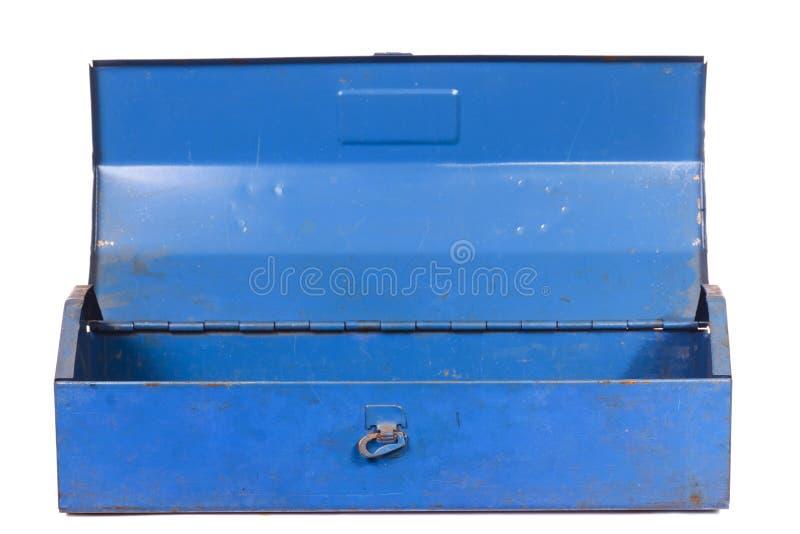 被隔绝的葡萄酒生锈的蓝色钢工具箱 库存照片