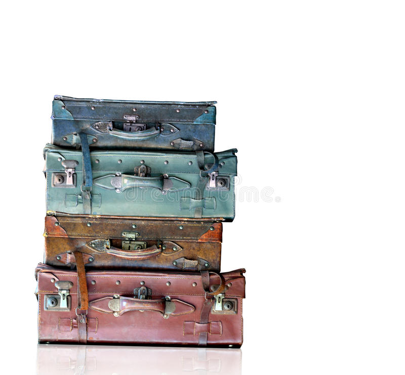 被隔绝的葡萄酒老旅行袋子 免版税库存照片