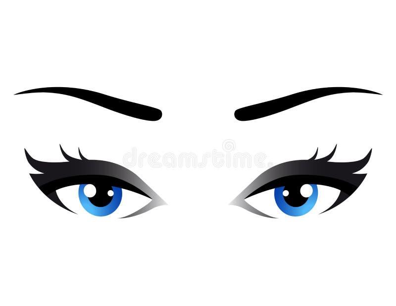 被隔绝的蓝色妇女眼睛 向量例证