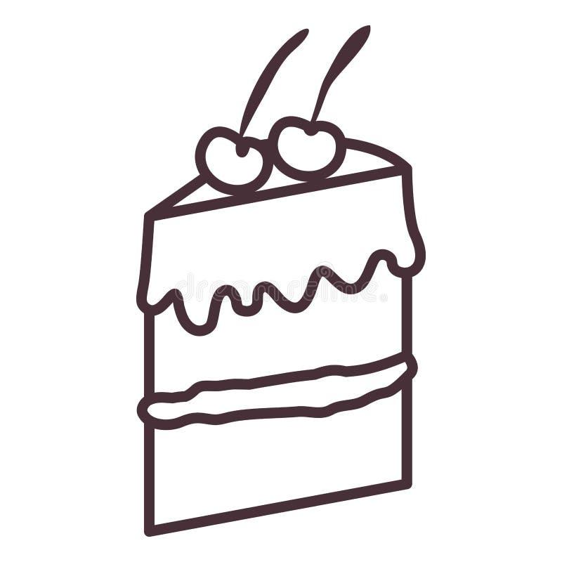 被隔绝的蛋糕剪影设计 库存例证