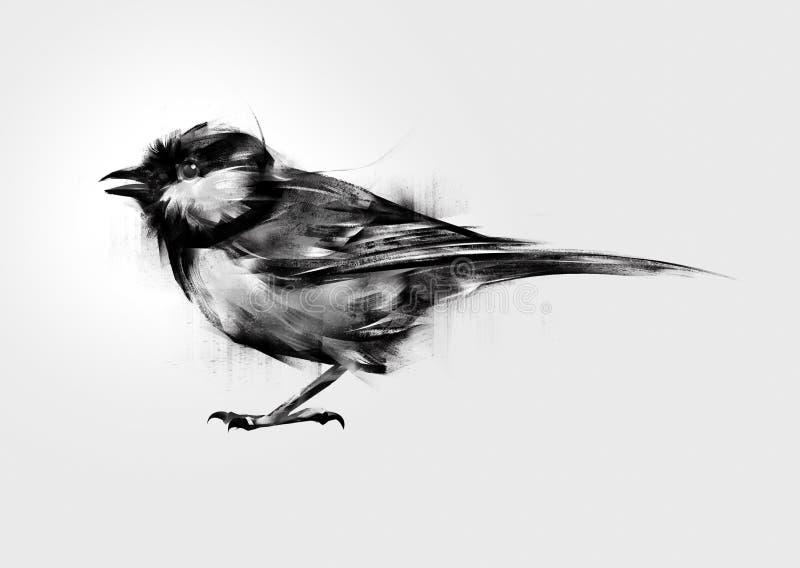 被隔绝的被绘的鸟山雀 向量例证