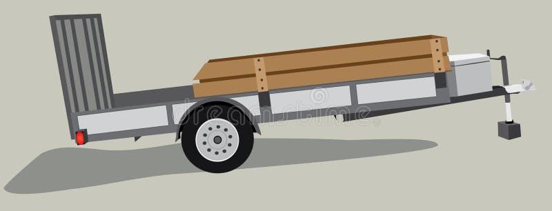 被隔绝的设备或公共事业拖车 库存例证