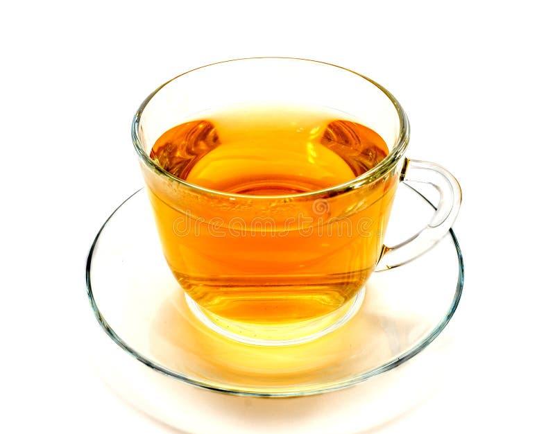 被隔绝的透明杯子在白色的清凉茶 免版税库存照片