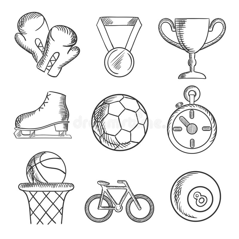 被隔绝的速写的体育比赛象 库存例证