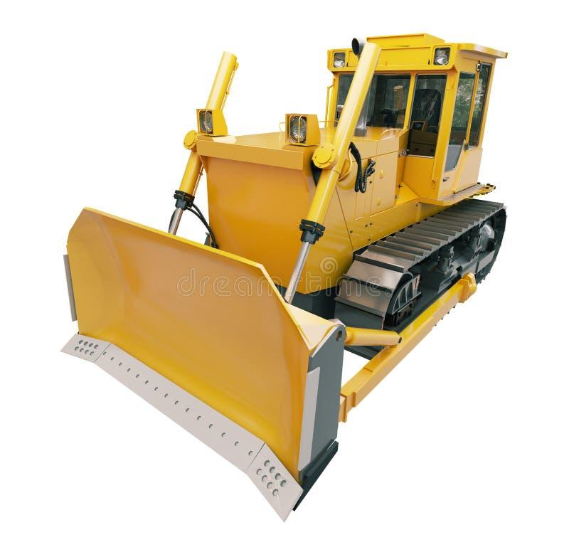 被隔绝的重的履带牵引装置推土机 向量例证