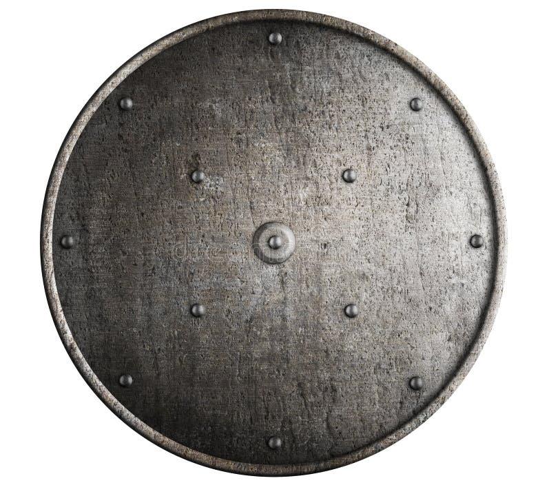 被隔绝的金属罗马盾 免版税库存照片